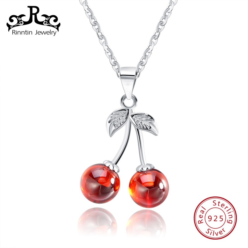 Rinntin Real 925 Sterling Silver Jewelry Red Natural Stone Cherry Pendant Necklaces Cute Chain Necklace Charm Jewelry Hot TSN03Rinntin Real 925 Sterling Silver Jewelry Red Natural Stone Cherry Pendant Necklaces Cute Chain Necklace Charm Jewelry Hot TSN03