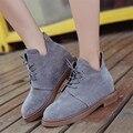 Botas de Mulheres marca Tornozelo Saltos Baixos Lace up Casual Shoes Oxfords Preto Verde Brown Botas De Camurça Outono 3 cores
