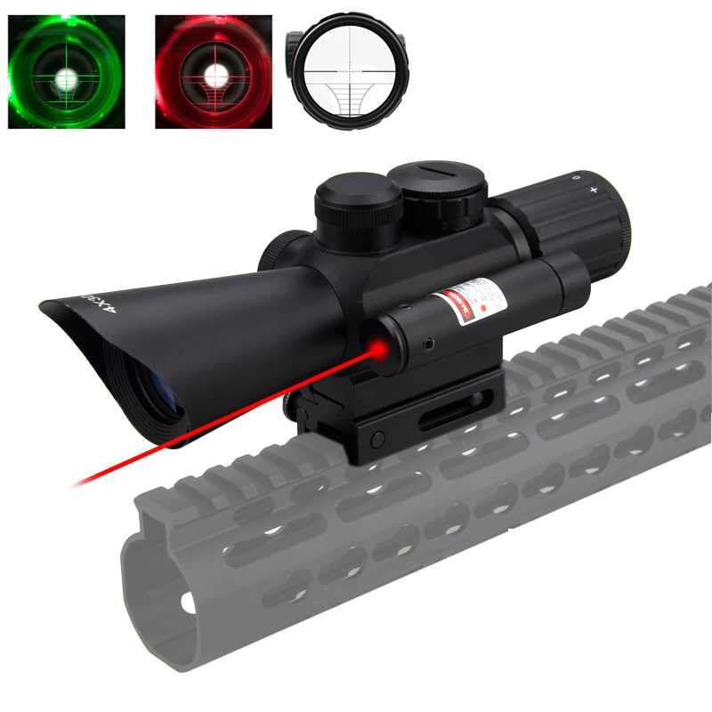22mm Rail Tactical Hunting Riflescope 4X30 Red Green Dot Sight Scope Laser Sight Shooting Scope Gun Rifle Airsoft Accessories compact m7 4x30 rifle scope red green mil dot reticle with side attached red laser sight tactical optics scopes riflescope