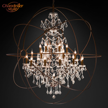 Foucaults Orb Clear Crystal Chandelier Lighting Rustic Candle Chandeliers LED Pendant Hanging Light for Living Dining Room