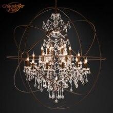 Foucaults Orb Clear Kristallen Kroonluchter Verlichting Rustieke Kaars Kroonluchters LED Hanger Opknoping Licht voor Living Eetkamer