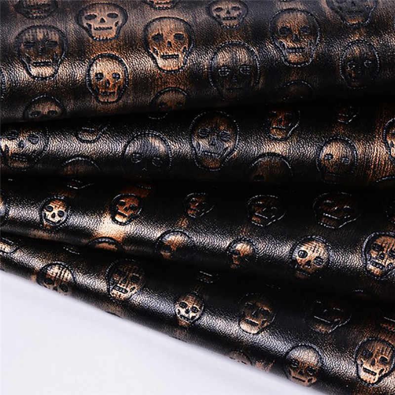 Lychee Life A4 czaszka wzór Faux skórzany materiał ze skóry syntetycznej do tworzenia rękodzieła DIY Handmade materiał do szycia