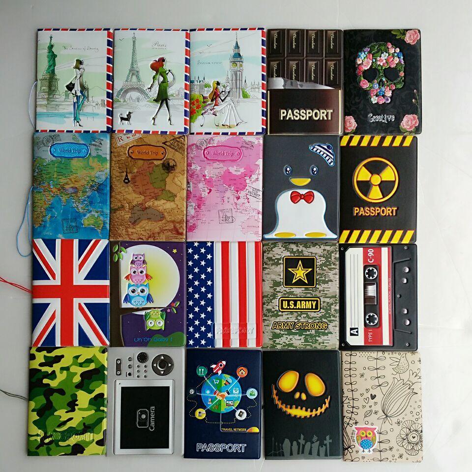 Fashion Miss love travel Passport Cover ID Credit Card Bag 3D Design PVC Leather Business Card Holder Passport Holder 14*9.6CM