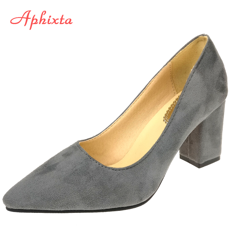 Aphixta Shoes Square Heel Women Pointed Toe Pumps Fashion Gray High Square Heels Flock Leather Black Party Shoes Plus Big Size