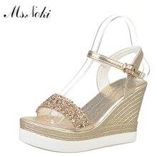 Ms.Noki shinning glitter silver gold platform high heels wedges women sandals 2017 summer ladies open toe casual shoes pumps