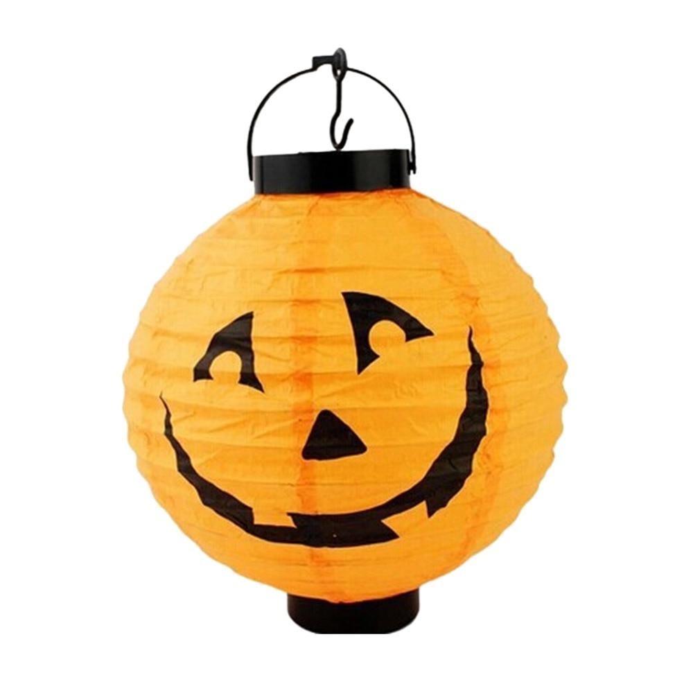 hot sales 1pcs halloween decoration led paper pumpkin light hanging lantern lamp halloween props party supplies - Paper Halloween Decorations