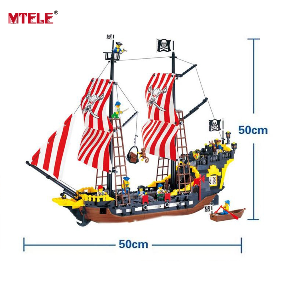 MTELE Brand Black Pearl Model 870 Pcs Pirates Series Building Blocks Kit Bricks High Quality Toy Compatible With Lego kazi 608pcs pirates armada flagship building blocks brinquedos caribbean warship sets the black pearl compatible with bricks