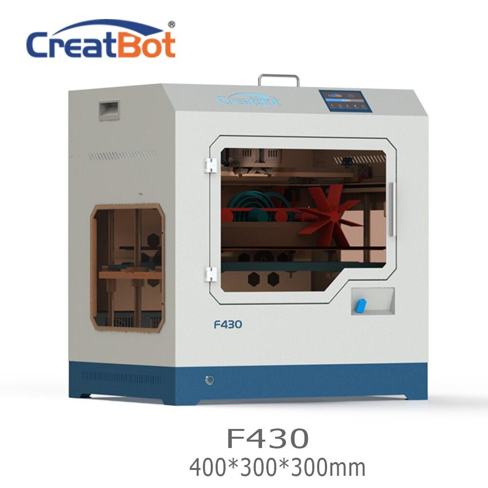 LIVRAISON GRATUITE F430 400*300*300mm CreatBot PEEK 3D Imprimante double extrudeuse 1.75mm PLA ABS grand impression taille Tous Chambre Fermée