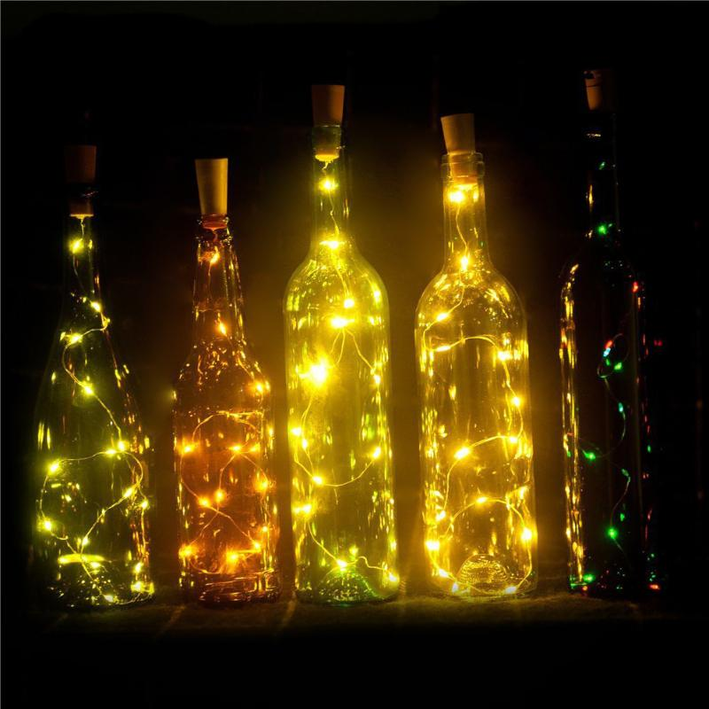 2pcs Wine Cork String Starry Lights 15 LED 1.4m Warm White and Colorful for bottle DIY Wedding Christmas Halloween Party Decor