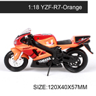 Maisto 1:18 Motorcycle Models YZF-R1 YZF-R7 ROAD STAR TT-R 250 Race Model Base Diecast Moto Children Toy For Gift Collection