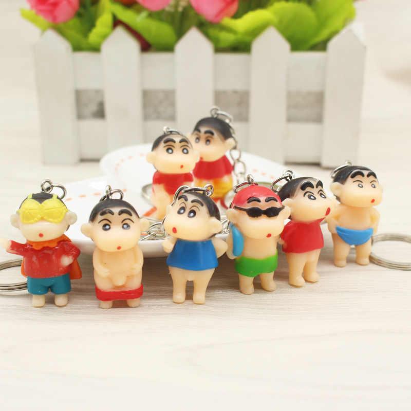 Crayon Shin Chan 1 PCS Bonito Brinquedo de Pelúcia Dos Desenhos Animados Figura de Ação de Animação Para O Saco Chave Anel Titular Chaveiro Mascote