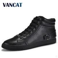 VANCAT Big Size Men Shoes High Quality Genuine Leather Men Ankle Boots Fashion Black Shoes Winter