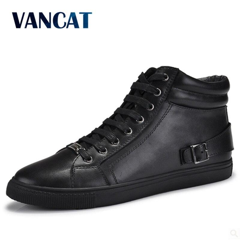 VANCAT Grande Taille Hommes Chaussures de Haute Qualité En Cuir Véritable Hommes Cheville Bottes De Mode Noir Chaussures Hiver Hommes Bottes Chaussures Chaudes avec de la Fourrure