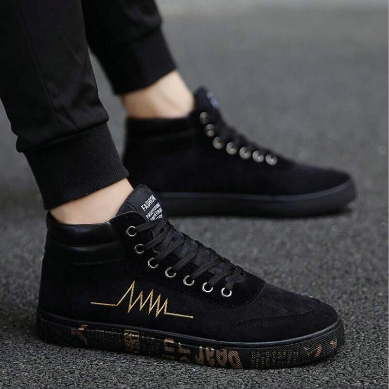 2018 New fashion All Black Men lace up walking shoes canvas shoes high top sneakers Male Boys casual flats sneakers shoes NN-33 new arrival summer fashion men flats shoes all black white red casual shoes mens canvas shoes lace up high top shoes nn 14
