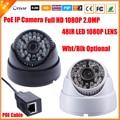 Ultra baixa iluminação sony imx322 1080 p cabo poe câmera ip 2mp Cúpula de segurança CCTV 48 LED IR 1080 P Lente IR Cut ONVIF