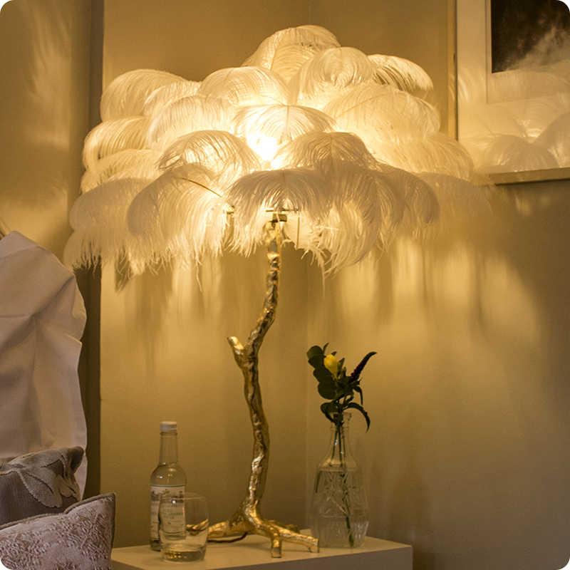 Северный страусиное перо золото медь латунь Смола торшер Tripot стоячие лампы для гостиной deco салон Прямая поставка