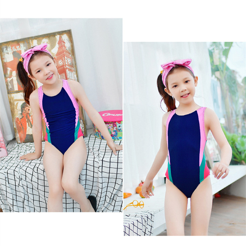 Funfeliz Girls swimsuit Patchwork One piece swim wear for girls Children bathing suits lovely girl sport swim suit 5-12 Years