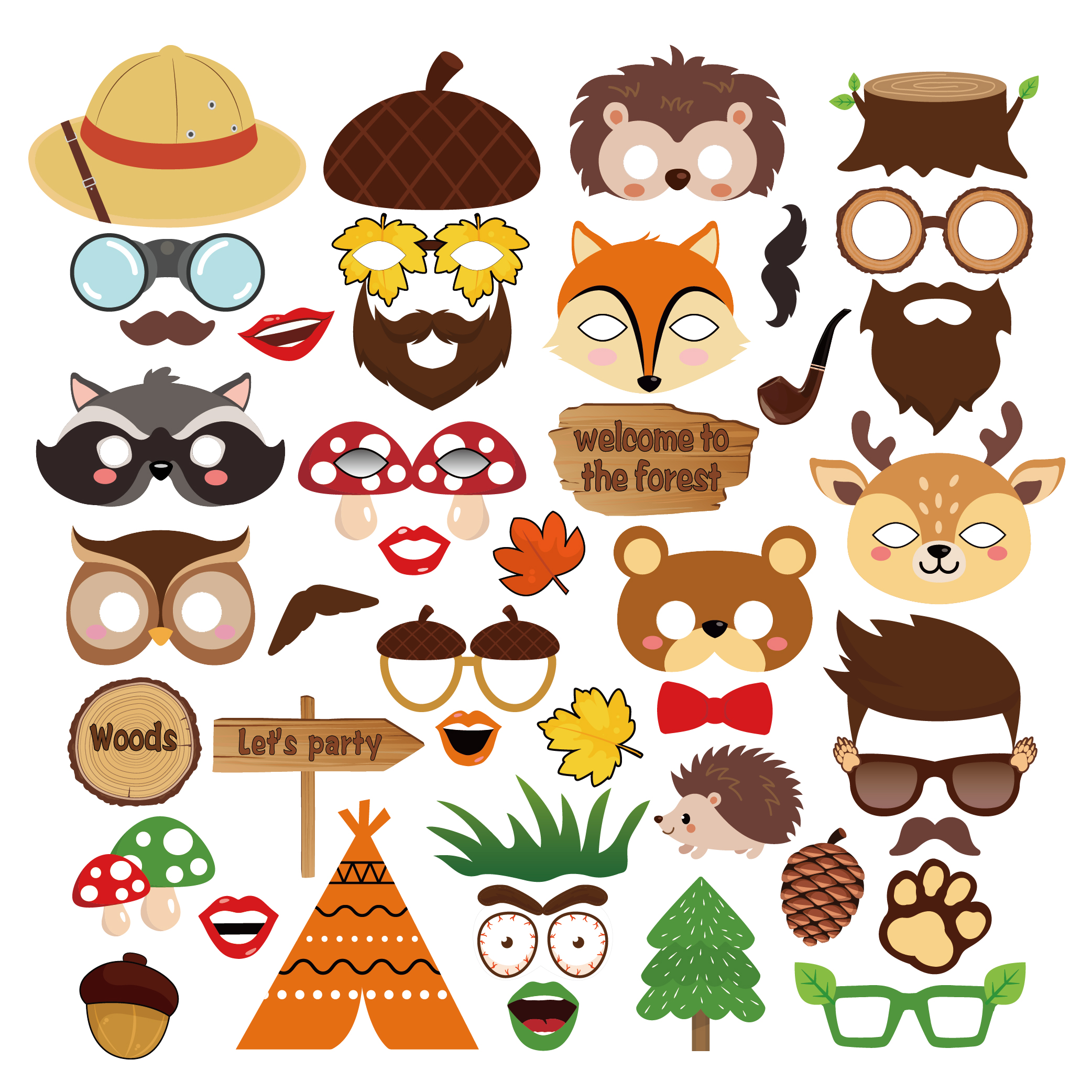 44pcs Jungle Safari Woodland Party Decorations DIY Photobooth Props Cartoon Animals Photobooth Props Baby Shower Party Supplies