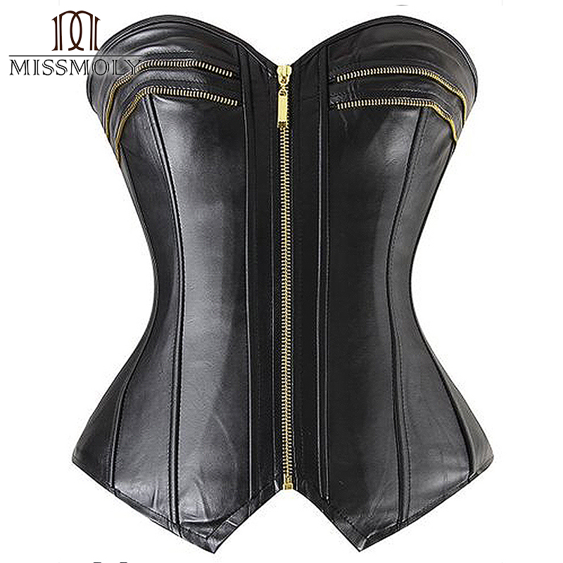 Miss Moly Gothic Steampunk Plastic Boned Waist Trainer Corset Overbust Top Bustier Shapers Zipper Lace up Black S M L XL 2XL