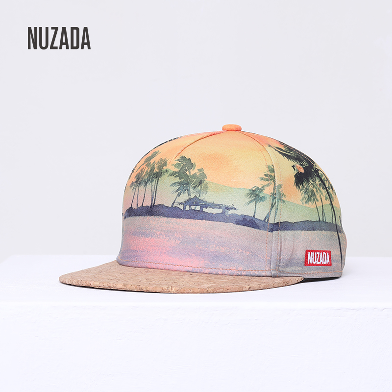 NUZADA Brand Spring Summer 3D Printing   Baseball     Cap   Men Women Couple Polyester Cotton Hat Wooden Beach Vacation Snapback   Cap