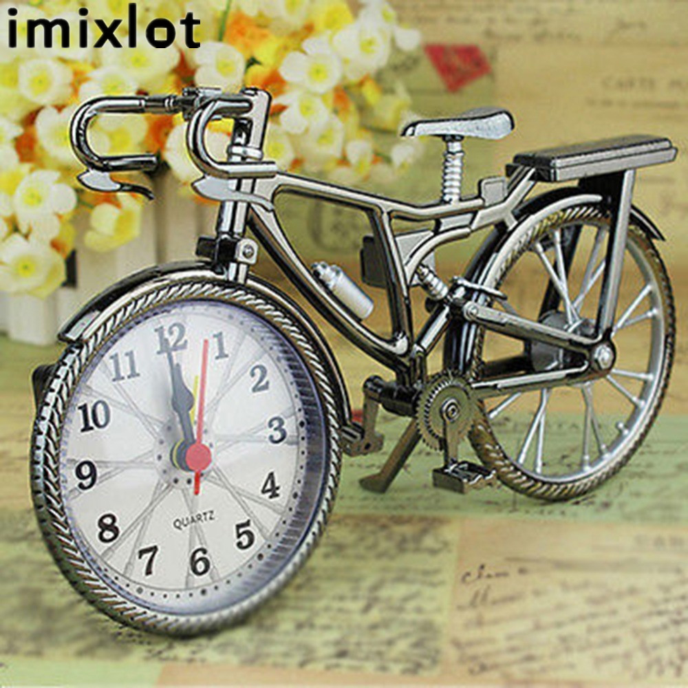 Portable Mini Travel Arabic Numeral Retro Bicycle Shape Desk Alarm Snooze Clock Creative Convenient Alarm Clock Home Supplies
