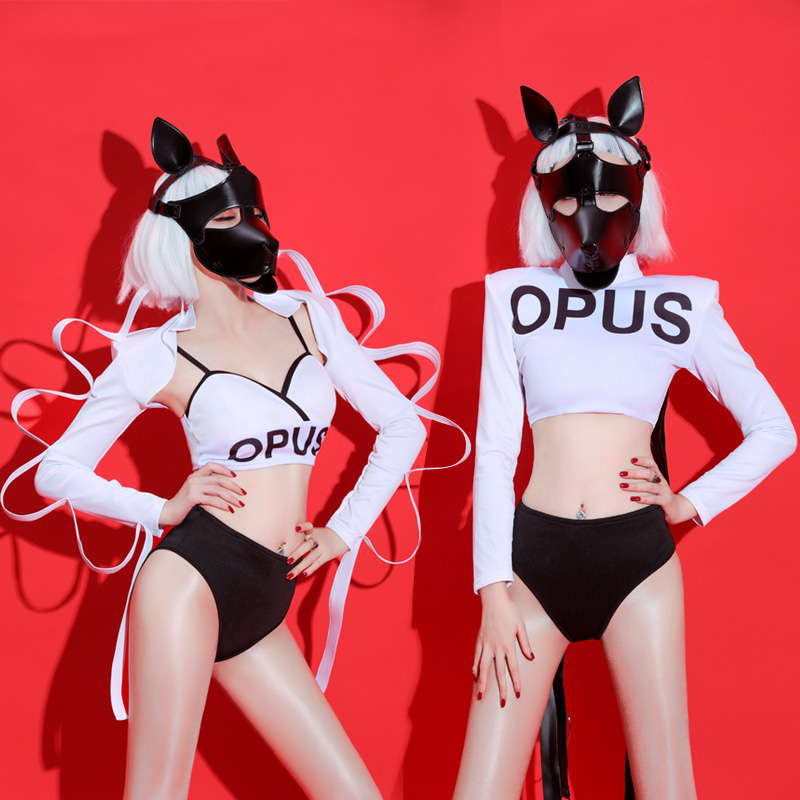 2019 New 2PCS/SET Jazz Dance Costumes Women White Sexy Hip Hop Nightclub Sexy Bar Dj Female Singer Costume Girls Stage Outfit