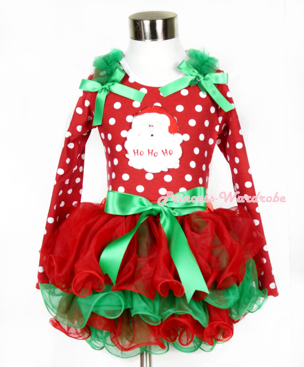 Xmas Kelly Green Bow Red Green Petal Pettiskirt Minnie Dots Long Sleeve Top Kelly Green Ruffles & Bow & Santa Claus MAMW317 kiniki kelly tanga mens