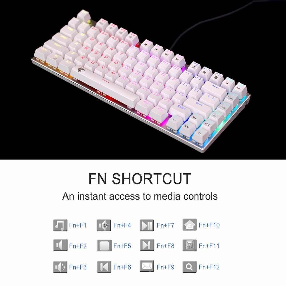 RGB Механическая игровая клавиатура коричневый переключатель-тактильный слегка щелкающий светодиодный водостойкий с подсветкой компактный 81 клавиши анти-ореолы
