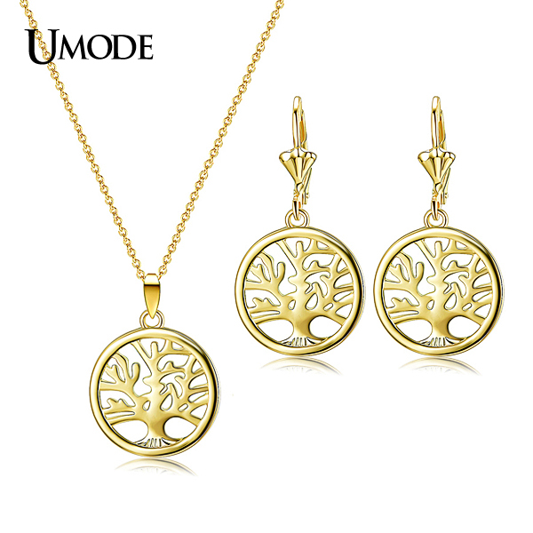 font b UMODE b font Gold Rhodium plated Fashion Women Jewelry Sets Including Tree of
