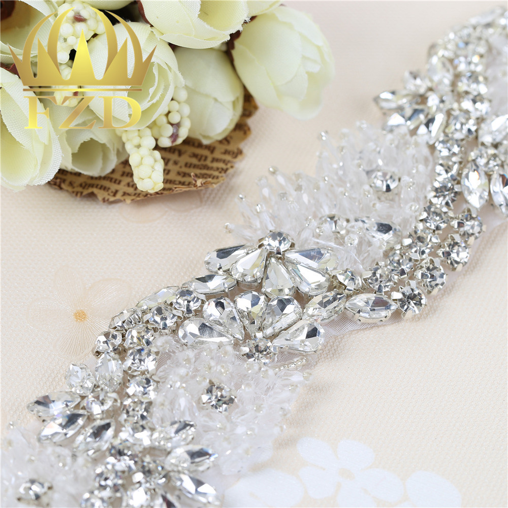 hot fix new type sew on beaded crystal rhinestone applique decorative d97729c46120