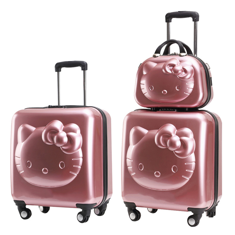 Cute children's trolley universal wheel primary school child trunk girl princess suitcase set luggage 18/20/24 inch
