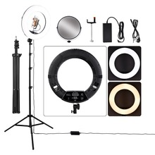 18 inch Photography Ring Light Dimmable 5500K LED Ring Lamp with Tripod/LCD Screen/ Mirror For Camera Photo Video YouTube Live fosoto fd 480ii dimmable bi color 18 96w camera photo video photography led ring light lamp with lcd screen tripod stand mirror