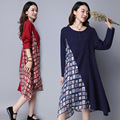 Maternity Clothes New 2017 Cotton Pullover Dress Large Size Temperament Long-sleeved Patchwork Dresses for Pregnant Women YFQ025