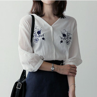 White Shirt Women Tops Embroidery Blouse Autumn Shirts Women Blouses Chemise Femme V Neck Ladies Top