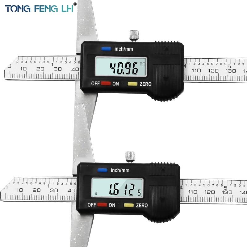 """Image 3 - 0 150mm 6"""" Metric Imperial Digital Depth Vernier Caliper Micrometer Stainless Steel Electric Digital Depth Gauge-in Calipers from Tools"""