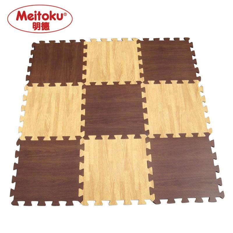 Meitoku Baby EVA Foam Play Puzzle Mat /9pcs Wood Interlocking Floor Mat,Each 30cmX30cmX1CM=12