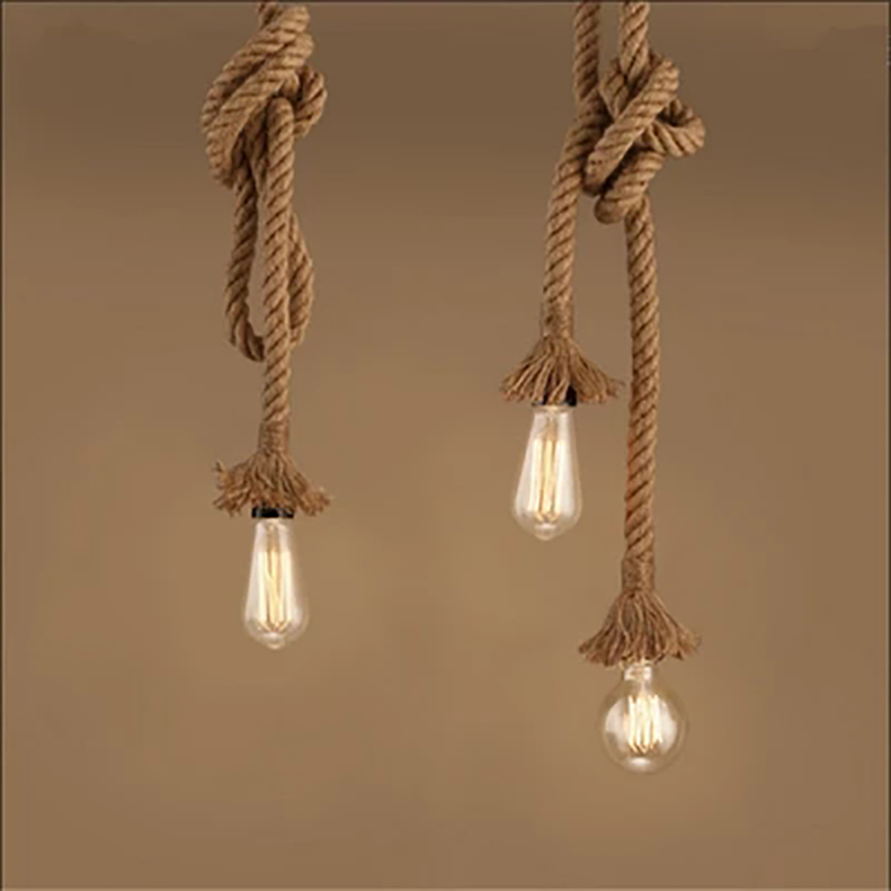 Single head rope chandeliers rustic retro restaurant sprinkling bar decorative lights staircase pure handmade LED lamps