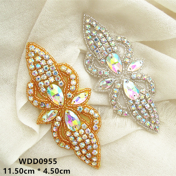 30pcs Bow shape AB Rhinestone applique patch gold beaded crystal applique iron on for wedding