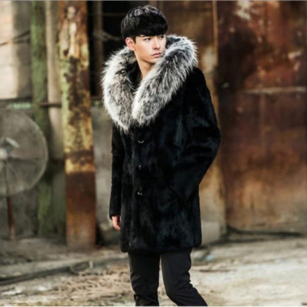 03a77ae31d593 Black Mens Faux Fur Jackets 2017 Winter Casual Hooded Fake Fox Fur Coat  Thicken Winter Plus Size Long Fur Outerwear XL647