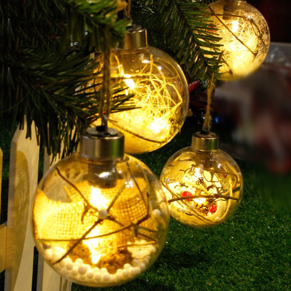8cm Romantic Christmas Hanging LED Ball Transparent PVC Luminous Light Decoration Xmas Tree Ball Ornaments Gift 4 Types