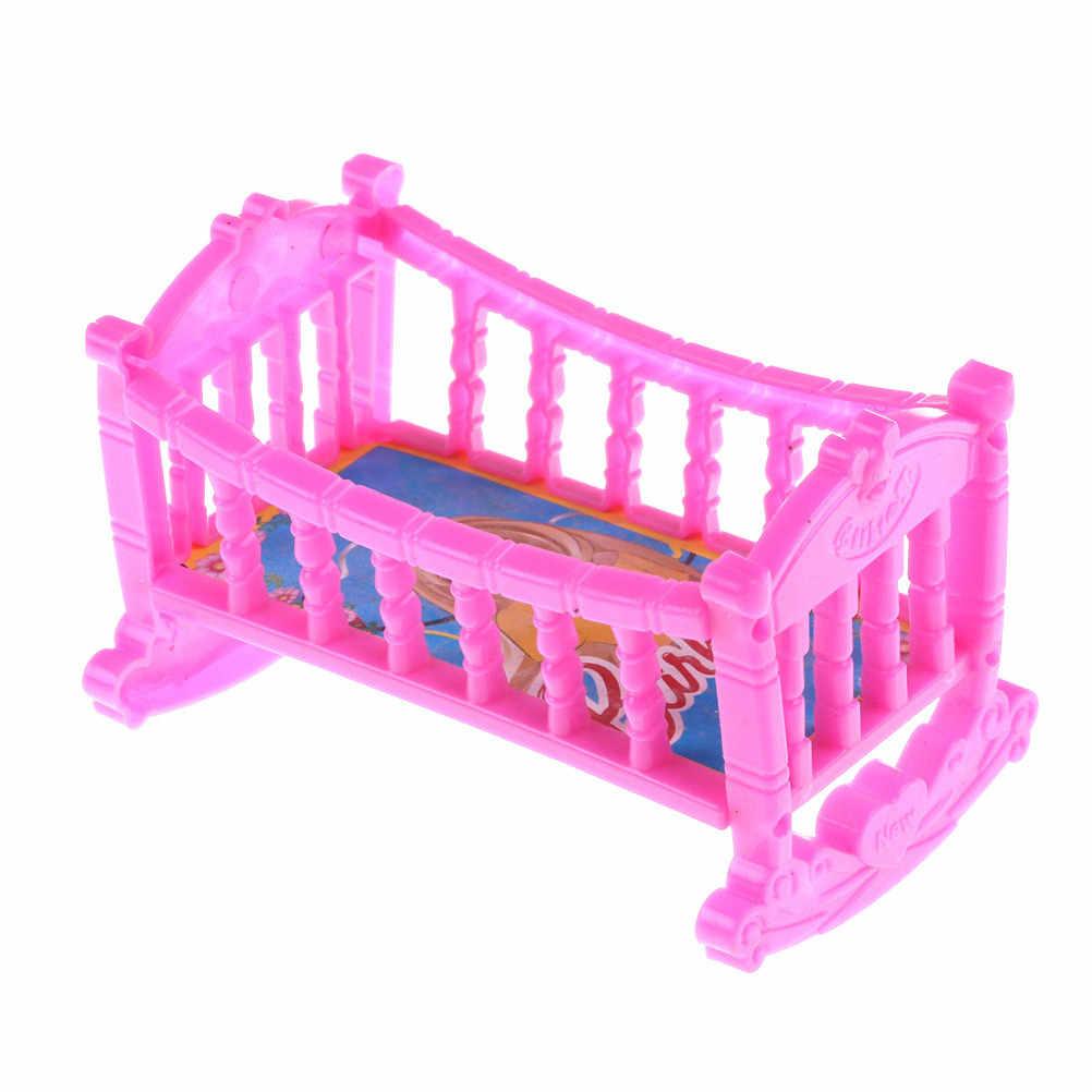 Ein Stück Kunststoff Doppel Bett Rahmen Kissen Nachtwäsche Kristall Schuhe Für Puppe Schlafzimmer Möbel Zubehör Multi Arten