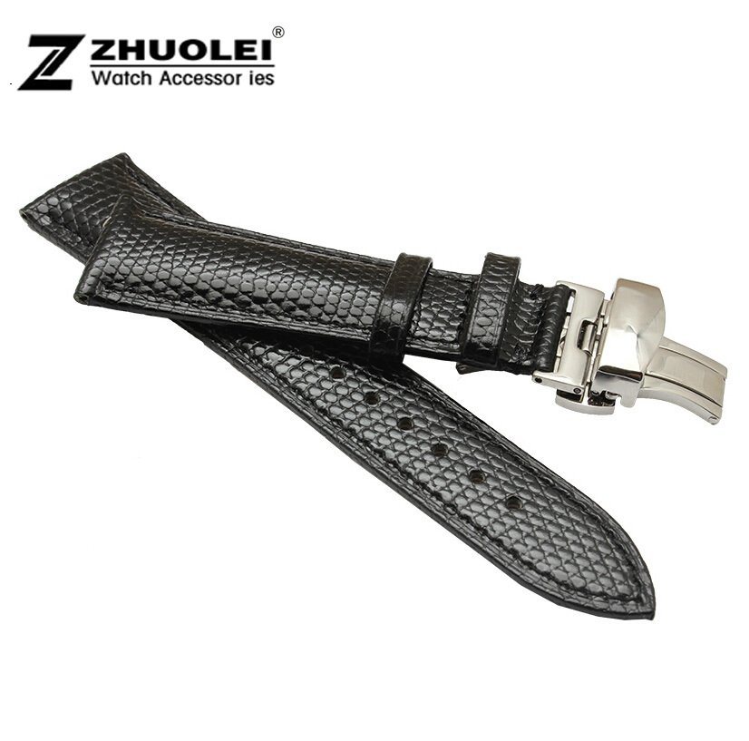 18mm 20mm 22mm 24mm New Mens Ladies Black Genuine Lizard Leather Watch Strap Band Buckle Butterfly Stainless Steel Buckle Clasp dorisfanny sparkly glitter sequin high heel pumps shoes sexy party club prom 12cm size 33 45 womens high heel shoes