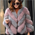 Natural Real Fox Fur Coats Women Mex Whole Skin Winter Genuine Fashion New Fox Fur Coats Outerwear Feminino Short Style BF-C0168