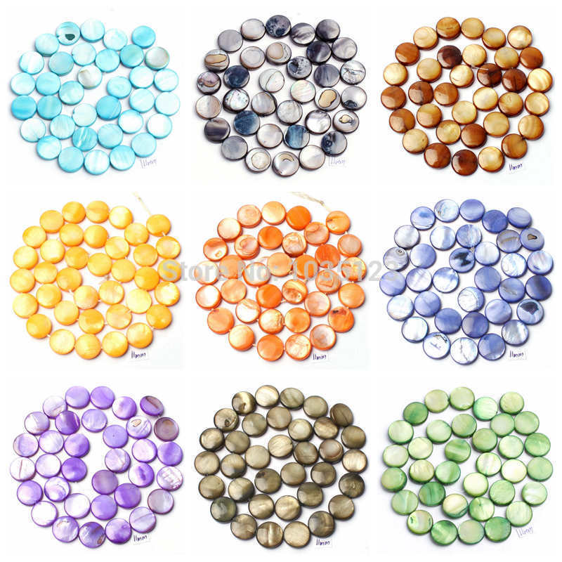 "Free Shipping 11mm Natural Coin Shape 16 Color Shell MOP Gems Loose Beads Strand 15"" Jewellery Making wj92"