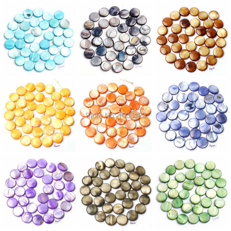 Free Shipping 11mm Natural Coin Shape 16 Color Shell MOP Gems Loose Beads Strand 15 Jewellery Making wj92