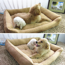 Extra Large Dog Bed Soft Berber Fleece Puppy Cushion Winter Warm Pet Dog House Washable M-XL