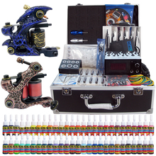Solong Tattoo New 2 Pro Machine Guns Tattoo Kit  54 Inks Power Supply Needle Grips with Tattoo Box TK221