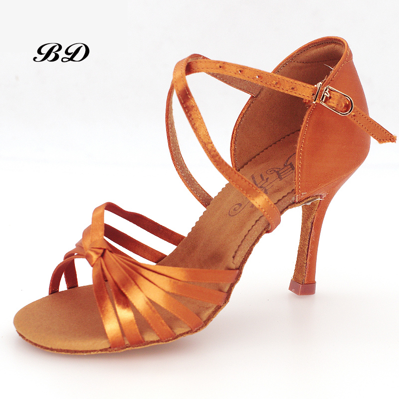 все цены на Top Grade Dance Shoes Ballroom Women Latin Shoes Imported Satin Tie Shoelaces Comfortable Feel Soft Sole Thin Heels 8.5 CM HOT