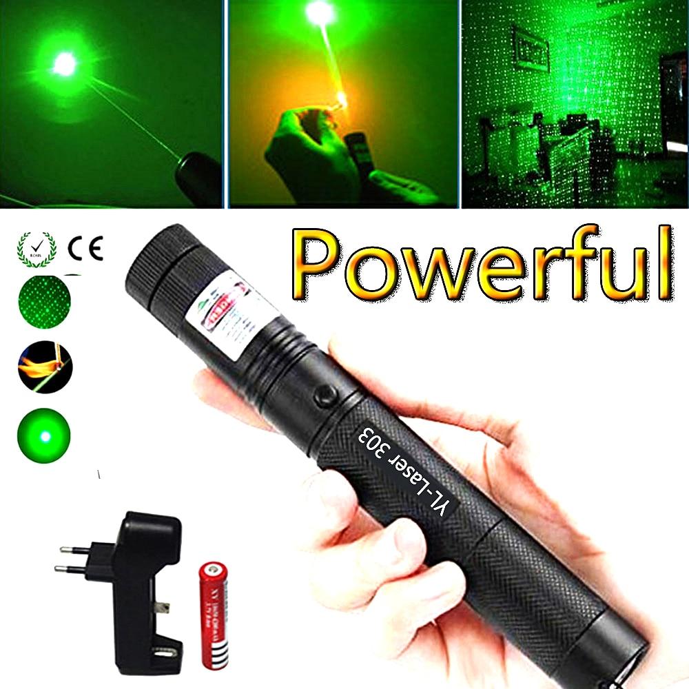 Ponteiro Laser verde Caça Tático 5 vista Ponto Verde tático 532 nm laser de 303 mW verde lazer pointer Pen Queima jogo
