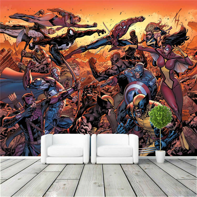 Cartoon Avengers Photo Wallpaper Movie Wall Mural Marvel Comics Wallpaper  Super Hero Room Decor Large Wall Art Kid Room Bedroom In Wallpapers From  Home ...